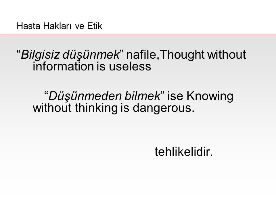 """Bilgisiz düşünmek"" nafile,Thought without information is useless ""Düşünmeden bilmek"" ise Knowing without thinking is dangerous. tehlikelidir. Konfüçy"