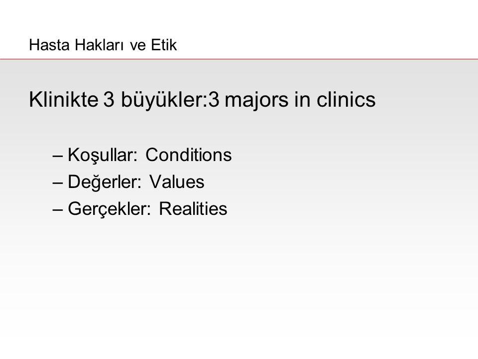 Klinikte 3 büyükler:3 majors in clinics –Koşullar: Conditions –Değerler: Values –Gerçekler: Realities Hasta Hakları ve Etik