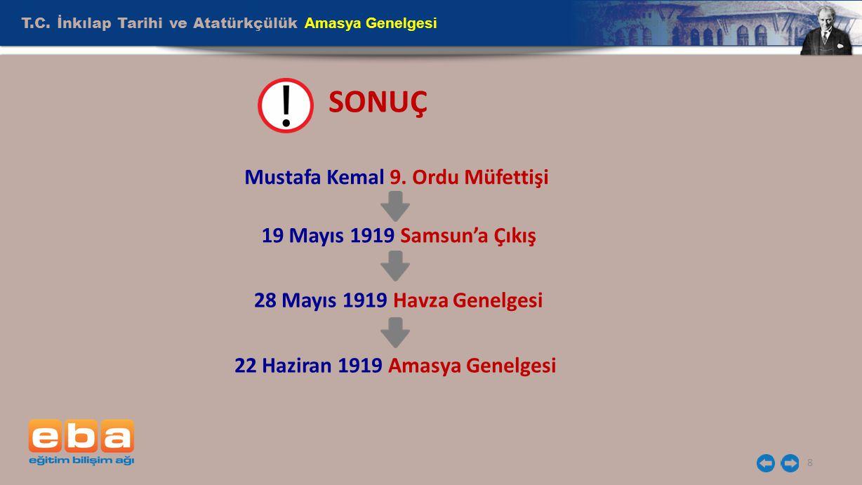 T.C. İnkılap Tarihi ve Atatürkçülük Amasya Genelgesi 8 SONUÇ Mustafa Kemal 9. Ordu Müfettişi 19 Mayıs 1919 Samsun'a Çıkış 28 Mayıs 1919 Havza Genelges