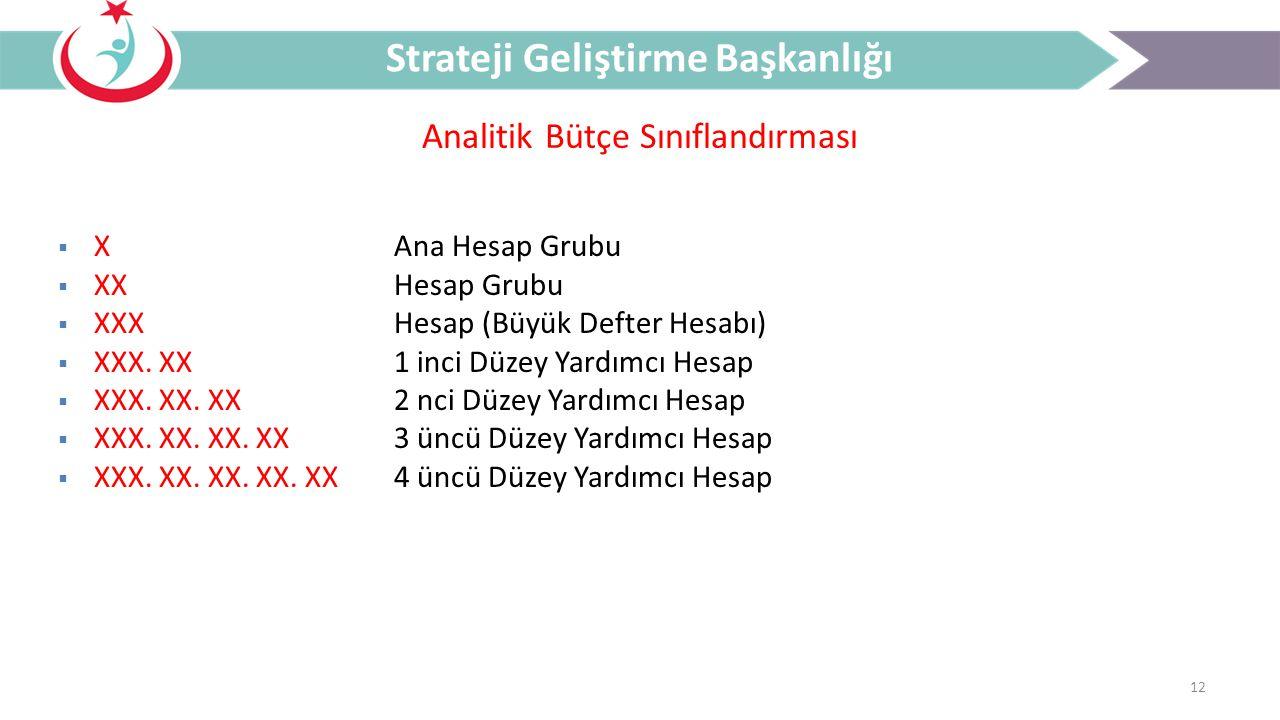12 Analitik Bütçe Sınıflandırması Strateji Geliştirme Başkanlığı  XAna Hesap Grubu  XXHesap Grubu  XXXHesap (Büyük Defter Hesabı)  XXX. XX1 inci D