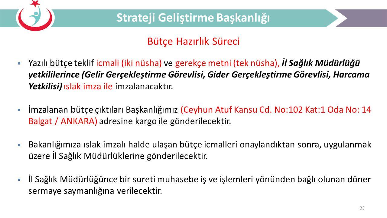33 Bütçe Hazırlık Süreci Strateji Geliştirme Başkanlığı  Yazılı bütçe teklif icmali (iki nüsha) ve gerekçe metni (tek nüsha), İl Sağlık Müdürlüğü yet