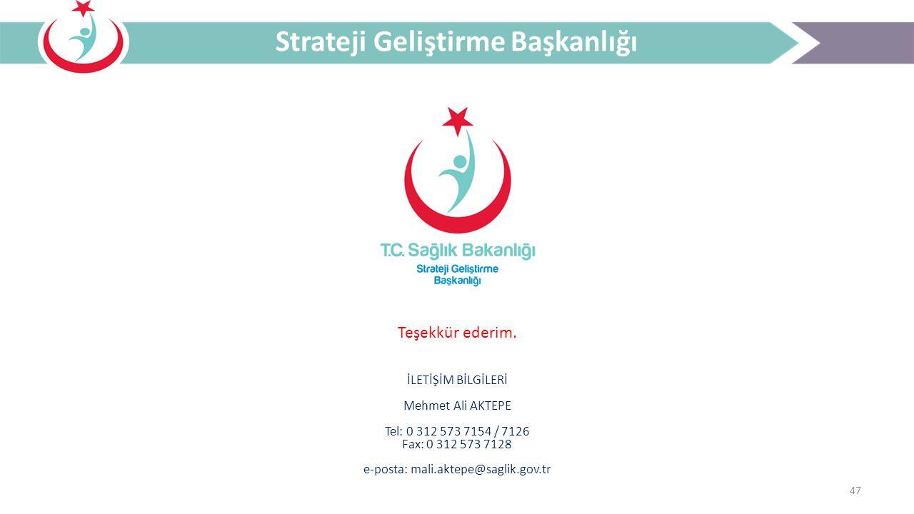 47 Strateji Geliştirme Başkanlığı Teşekkür ederim. İLETİŞİM BİLGİLERİ Mehmet Ali AKTEPE Tel: 0 312 573 7154 / 7126 Fax: 0 312 573 7128 e-posta: mali.a