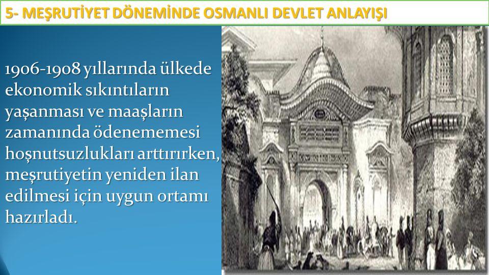 1906-1908 yıllarında ülkede ekonomik sıkıntıların yaşanması ve maaşların zamanında ödenememesi hoşnutsuzlukları arttırırken, meşrutiyetin yeniden ilan