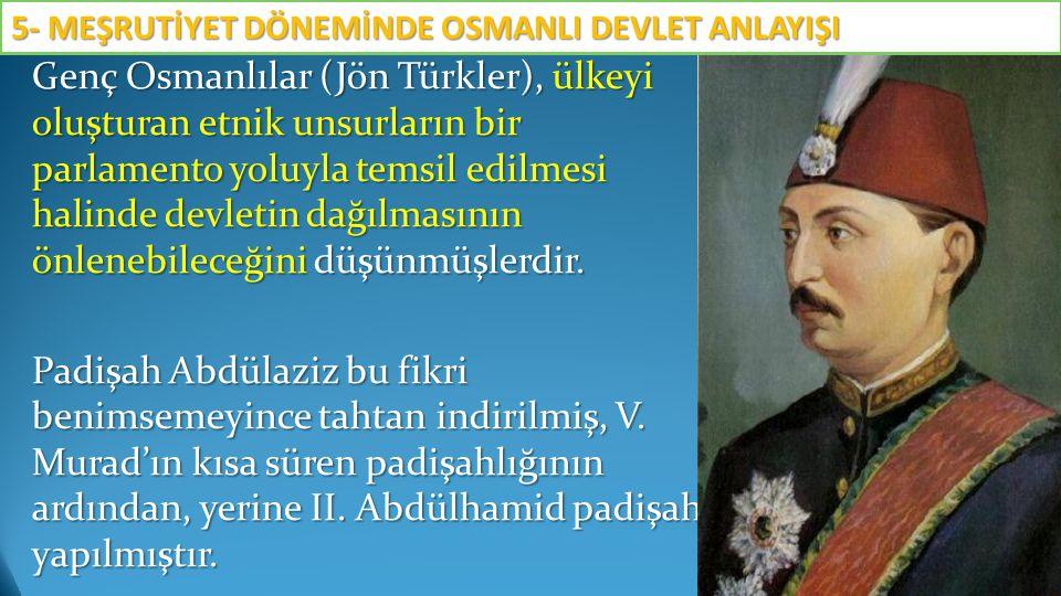 Genç Osmanlılar (Jön Türkler), ülkeyi oluşturan etnik unsurların bir parlamento yoluyla temsil edilmesi halinde devletin dağılmasının önlenebileceğini