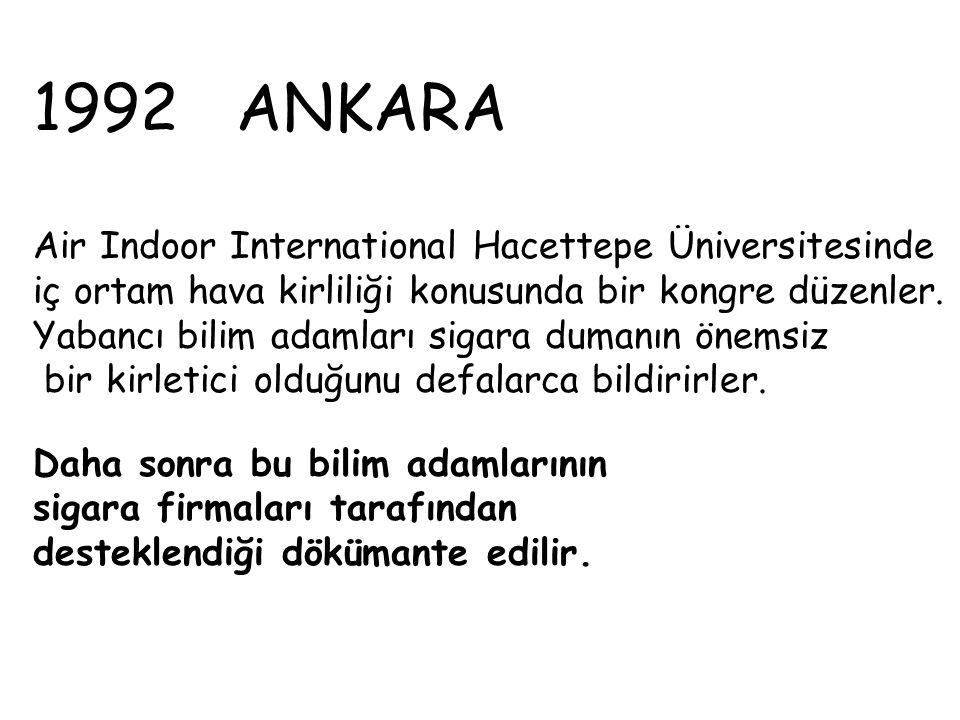1992 ANKARA Air Indoor International Hacettepe Üniversitesinde iç ortam hava kirliliği konusunda bir kongre düzenler. Yabancı bilim adamları sigara du