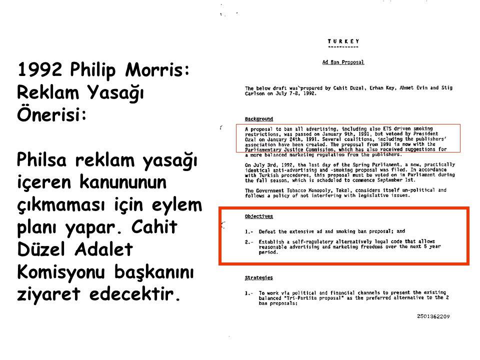 1992 Philip Morris: Reklam Yasağı Önerisi: Philsa reklam yasağı içeren kanununun çıkmaması için eylem planı yapar. Cahit Düzel Adalet Komisyonu başkan