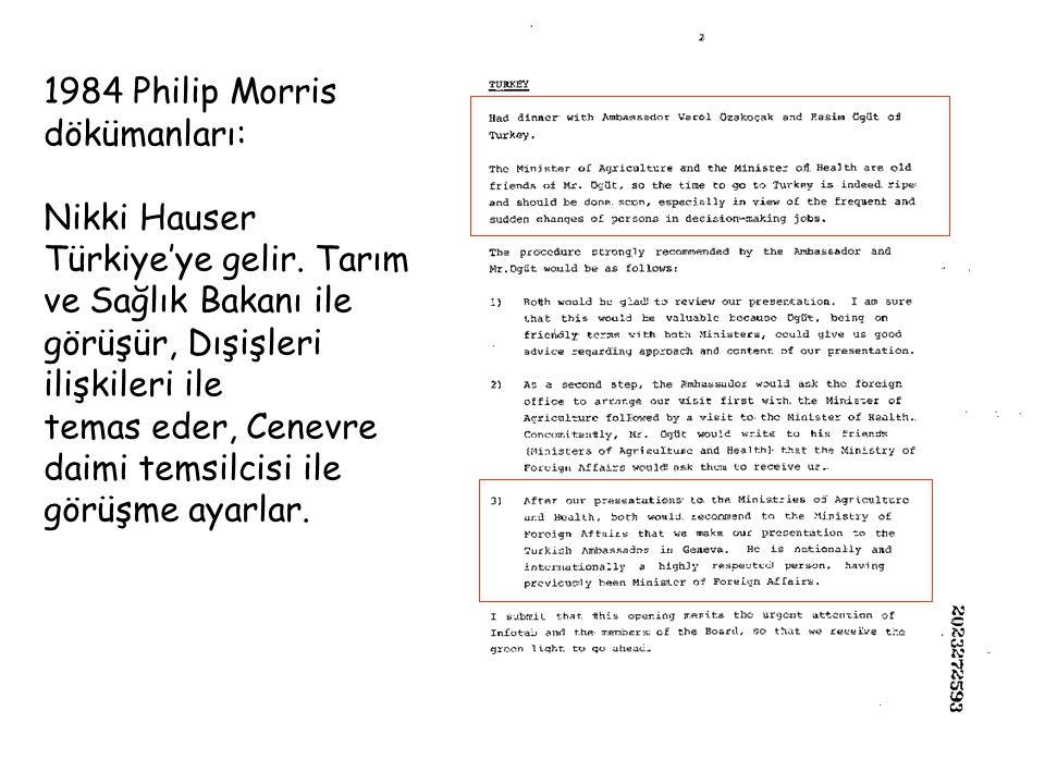 1984 Philip Morris dökümanları: Nikki Hauser Türkiye'ye gelir. Tarım ve Sağlık Bakanı ile görüşür, Dışişleri ilişkileri ile temas eder, Cenevre daimi