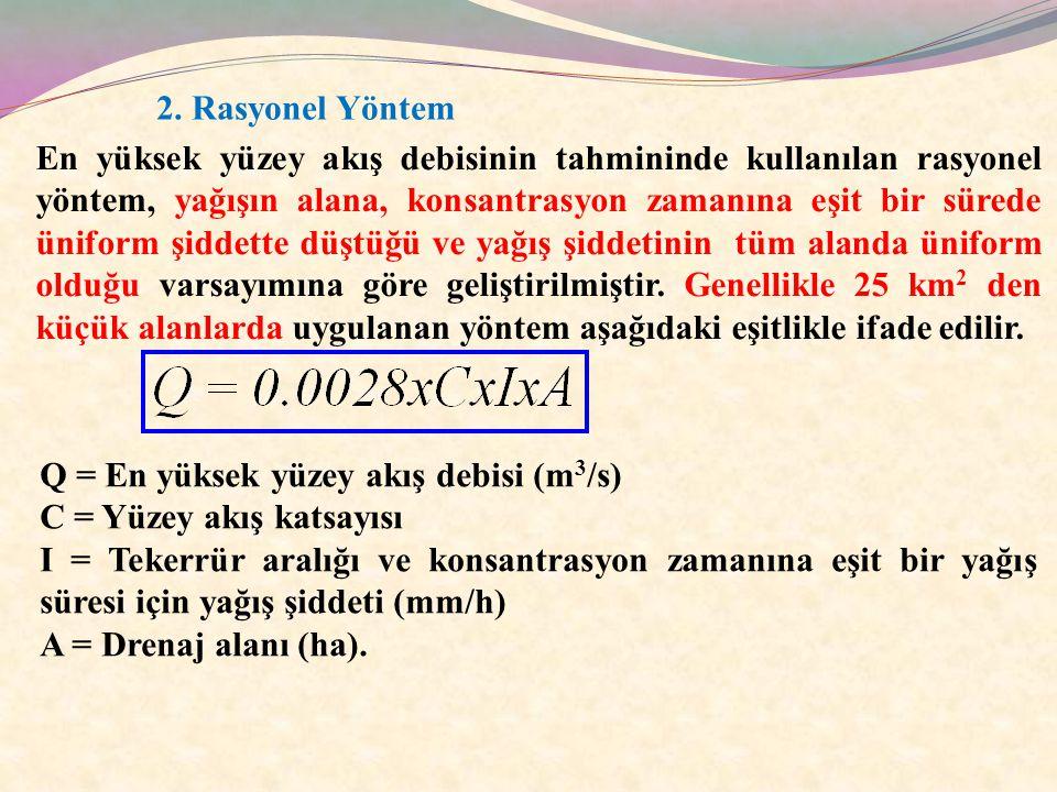 2. Rasyonel Yöntem En yüksek yüzey akış debisinin tahmininde kullanılan rasyonel yöntem, yağışın alana, konsantrasyon zamanına eşit bir sürede üniform