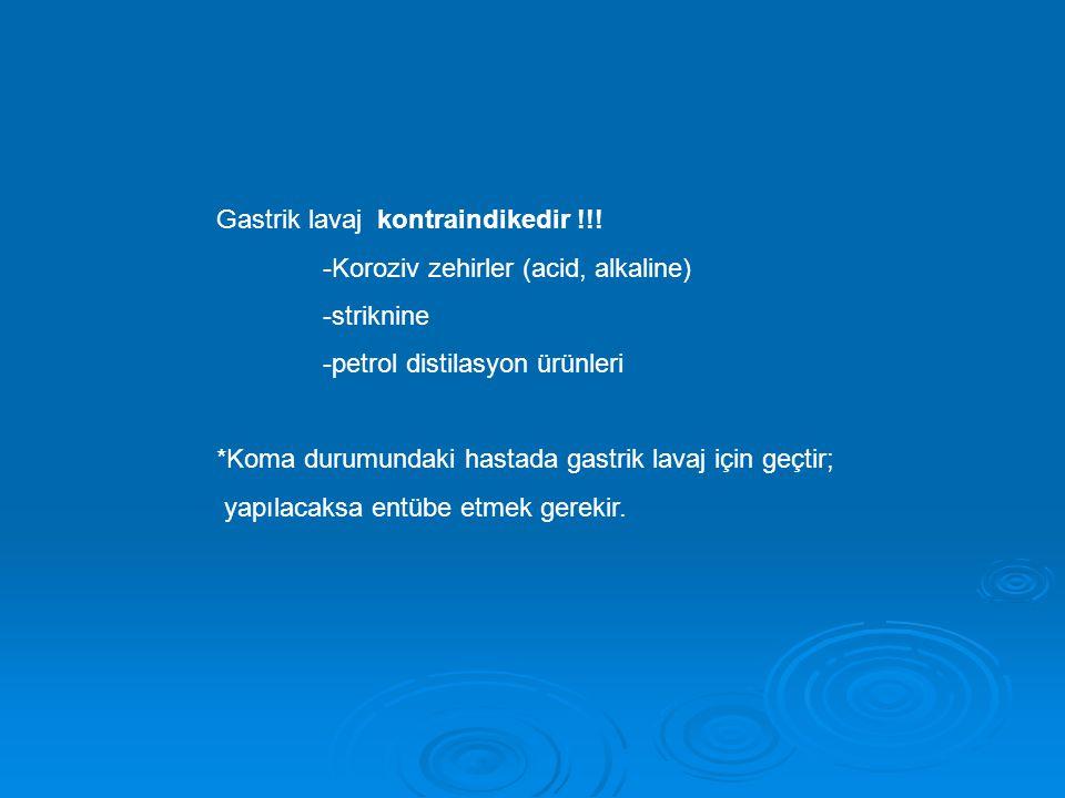 Gastrik lavaj kontraindikedir !!! -Koroziv zehirler (acid, alkaline) -striknine -petrol distilasyon ürünleri *Koma durumundaki hastada gastrik lavaj i