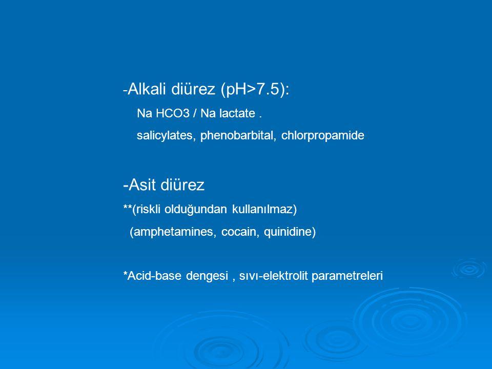 - Alkali diürez (pH>7.5): Na HCO3 / Na lactate. salicylates, phenobarbital, chlorpropamide -Asit diürez **(riskli olduğundan kullanılmaz) (amphetamine