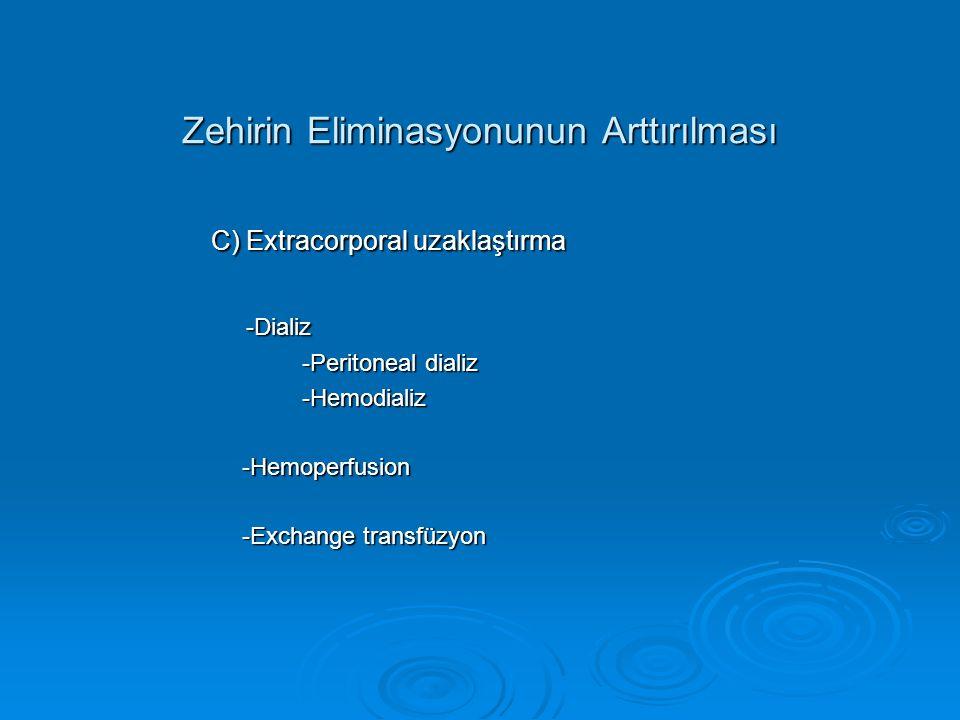 Zehirin Eliminasyonunun Arttırılması C) Extracorporal uzaklaştırma C) Extracorporal uzaklaştırma -Dializ -Dializ -Peritoneal dializ -Peritoneal dializ -Hemodializ -Hemodializ -Hemoperfusion -Hemoperfusion -Exchange transfüzyon -Exchange transfüzyon