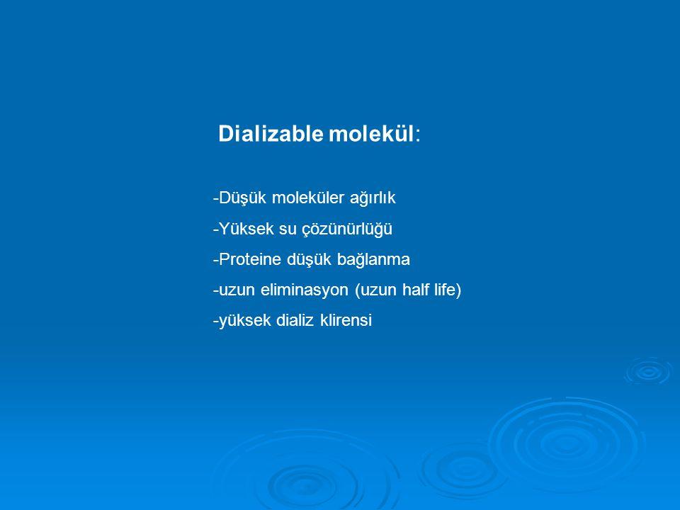 Dializable molekül: -Düşük moleküler ağırlık -Yüksek su çözünürlüğü -Proteine düşük bağlanma -uzun eliminasyon (uzun half life) -yüksek dializ klirensi