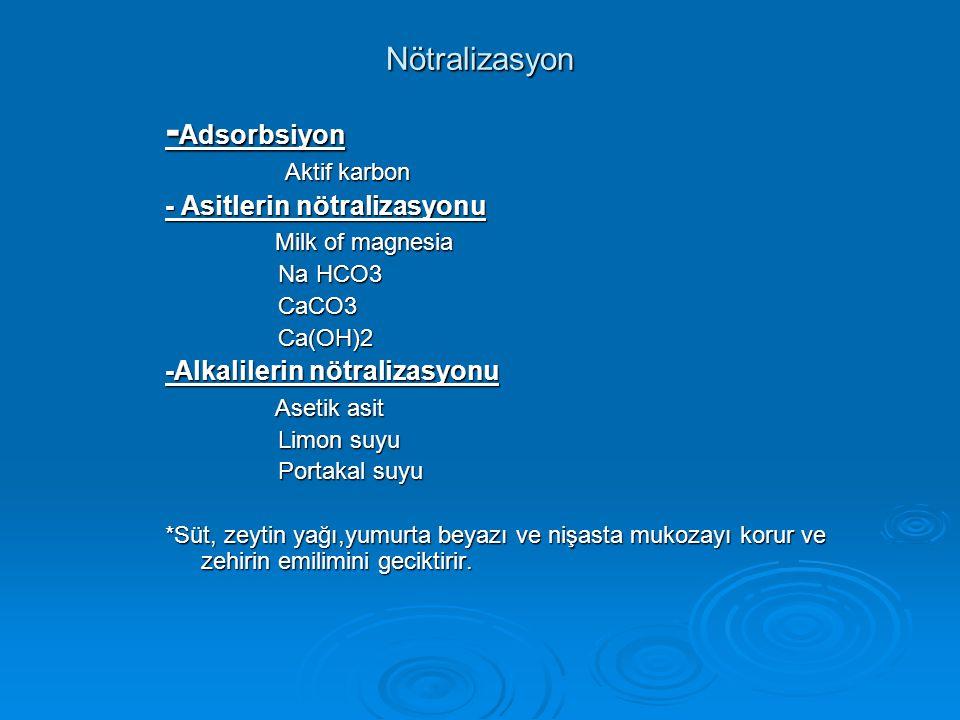 Nötralizasyon - Adsorbsiyon Aktif karbon Aktif karbon - Asitlerin nötralizasyonu Milk of magnesia Milk of magnesia Na HCO3 Na HCO3 CaCO3 CaCO3 Ca(OH)2 Ca(OH)2 -Alkalilerin nötralizasyonu Asetik asit Asetik asit Limon suyu Limon suyu Portakal suyu Portakal suyu *Süt, zeytin yağı,yumurta beyazı ve nişasta mukozayı korur ve zehirin emilimini geciktirir.