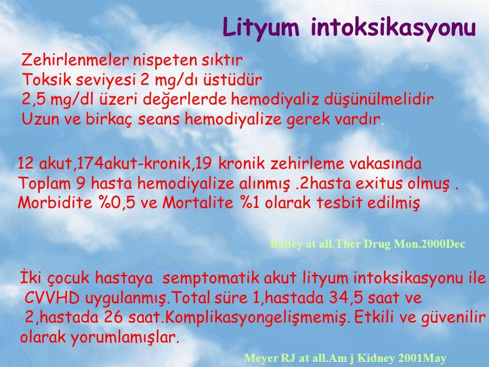 Lityum intoksikasyonu Zehirlenmeler nispeten sıktır Toksik seviyesi 2 mg/dı üstüdür 2,5 mg/dl üzeri değerlerde hemodiyaliz düşünülmelidir Uzun ve birk