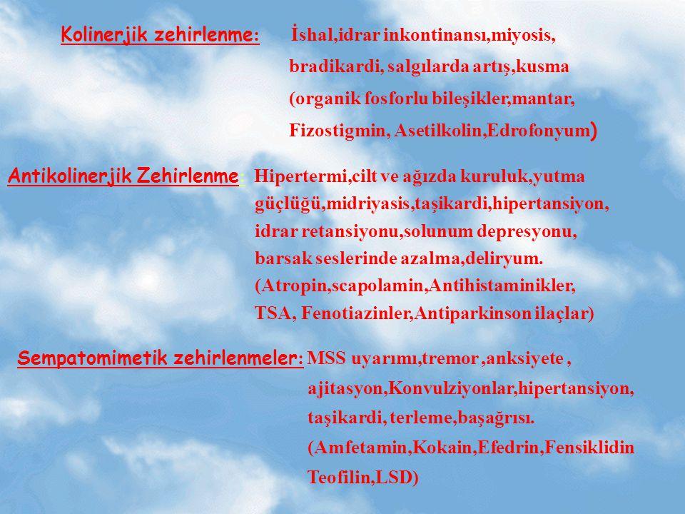 Kolinerjik zehirlenme : İshal,idrar inkontinansı,miyosis, bradikardi, salgılarda artış,kusma (organik fosforlu bileşikler,mantar, Fizostigmin, Asetilk
