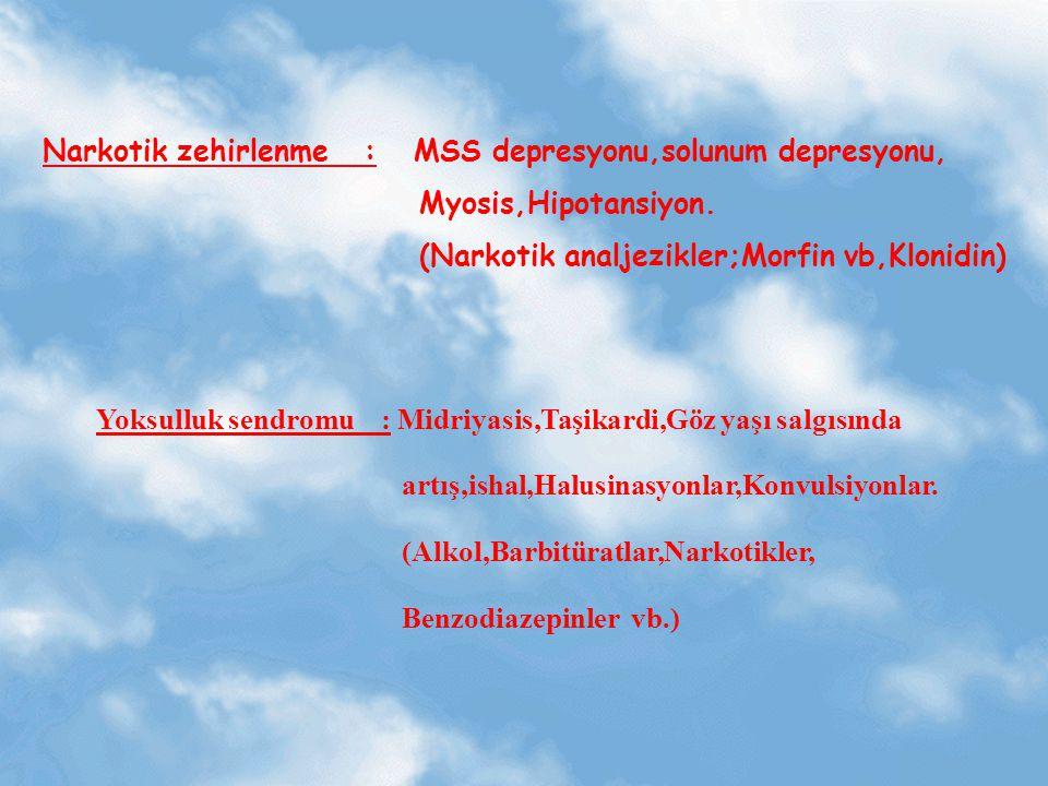 Narkotik zehirlenme : MSS depresyonu,solunum depresyonu, Myosis,Hipotansiyon. (Narkotik analjezikler;Morfin vb,Klonidin) Yoksulluk sendromu : Midriyas