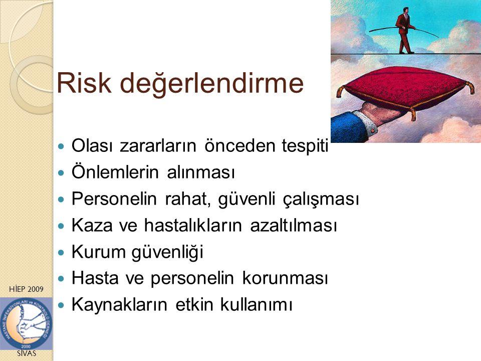 H İ EP 2009 S İ VAS Risk değerlendirme Olası zararların önceden tespiti Önlemlerin alınması Personelin rahat, güvenli çalışması Kaza ve hastalıkların