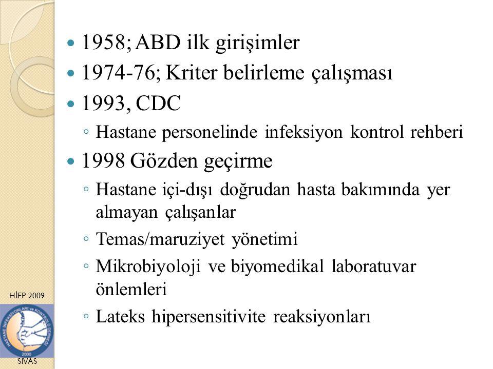 H İ EP 2009 S İ VAS 1958; ABD ilk girişimler 1974-76; Kriter belirleme çalışması 1993, CDC ◦ Hastane personelinde infeksiyon kontrol rehberi 1998 Gözd