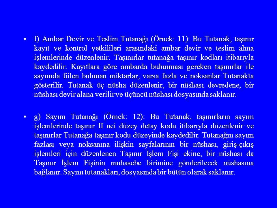 f) Ambar Devir ve Teslim Tutanağı (Örnek: 11): Bu Tutanak, taşınır kayıt ve kontrol yetkilileri arasındaki ambar devir ve teslim alma işlemlerinde düz
