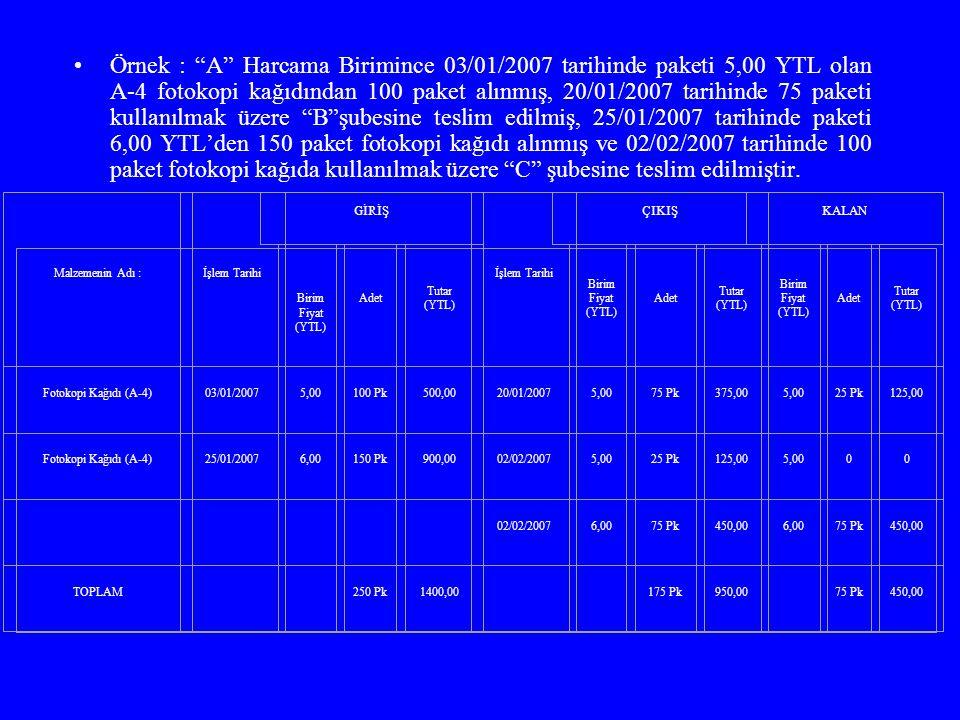 """Örnek : """"A"""" Harcama Birimince 03/01/2007 tarihinde paketi 5,00 YTL olan A-4 fotokopi kağıdından 100 paket alınmış, 20/01/2007 tarihinde 75 paketi kull"""