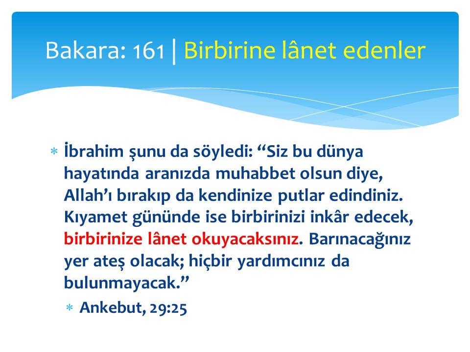 """ İbrahim şunu da söyledi: """"Siz bu dünya hayatında aranızda muhabbet olsun diye, Allah'ı bırakıp da kendinize putlar edindiniz. Kıyamet gününde ise bi"""