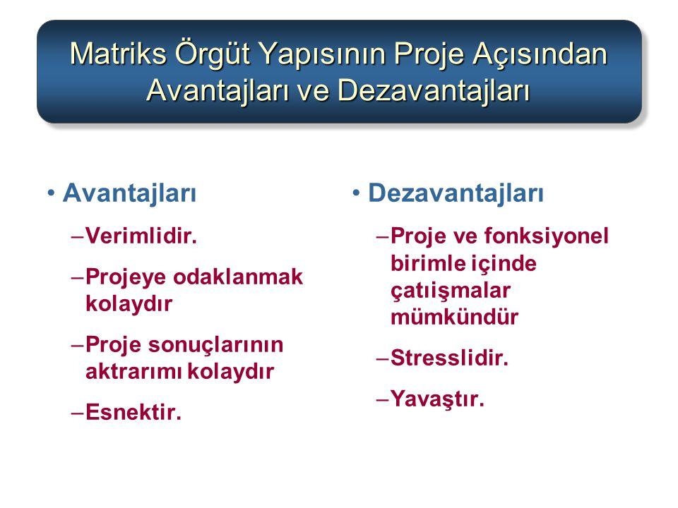Matriks Örgüt Yapısının Proje Açısından Avantajları ve Dezavantajları Avantajları –Verimlidir. –Projeye odaklanmak kolaydır –Proje sonuçlarının aktrar