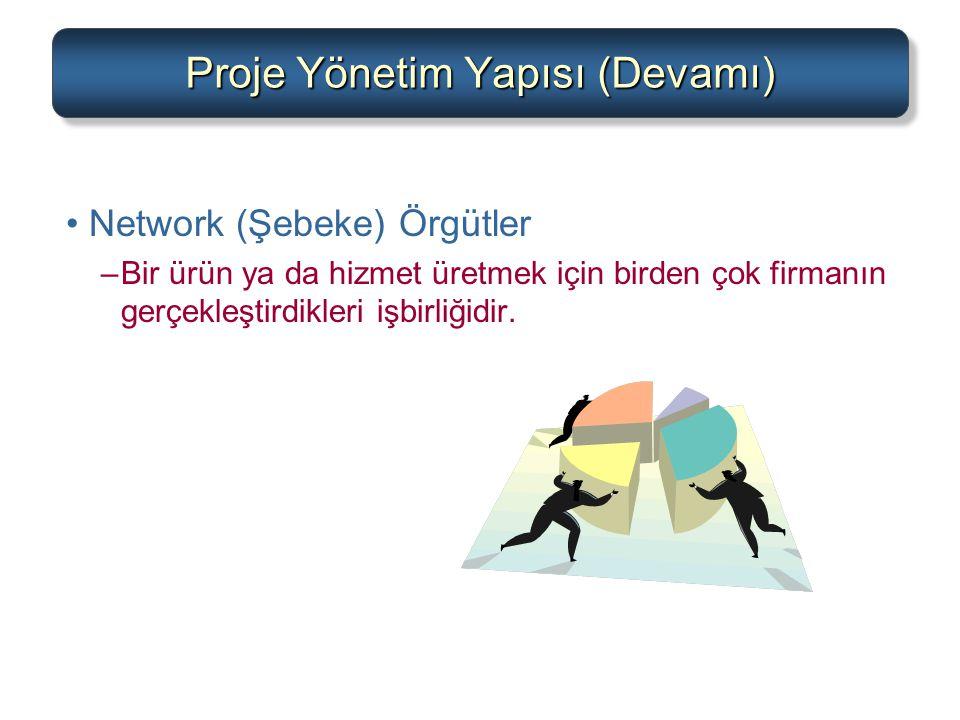 Proje Yönetim Yapısı (Devamı) Network (Şebeke) Örgütler –Bir ürün ya da hizmet üretmek için birden çok firmanın gerçekleştirdikleri işbirliğidir.