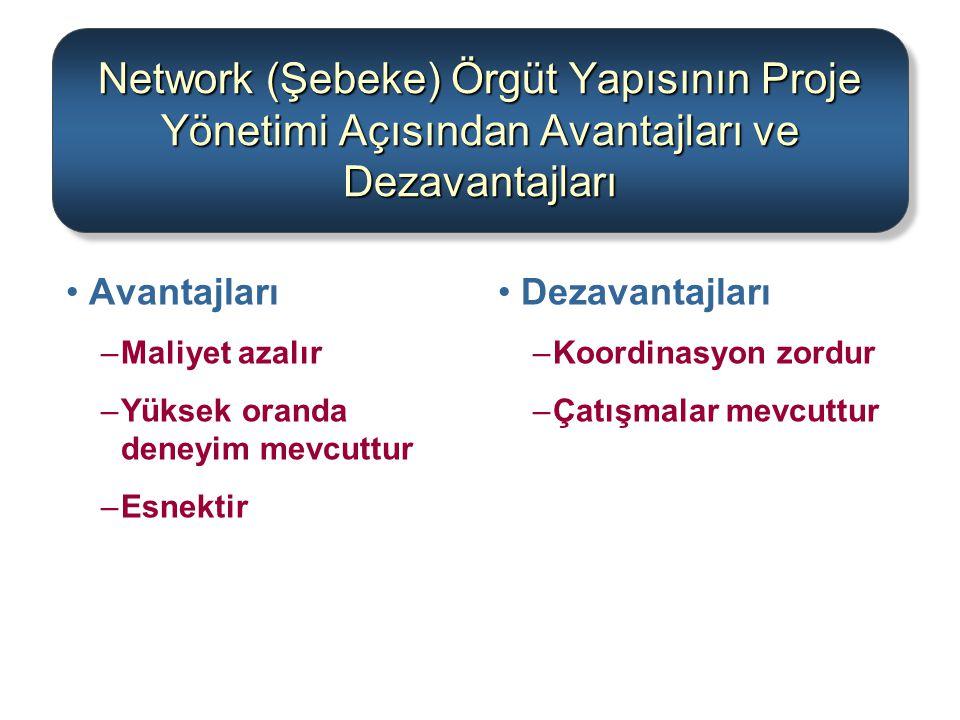 Network (Şebeke) Örgüt Yapısının Proje Yönetimi Açısından Avantajları ve Dezavantajları Avantajları –Maliyet azalır –Yüksek oranda deneyim mevcuttur –