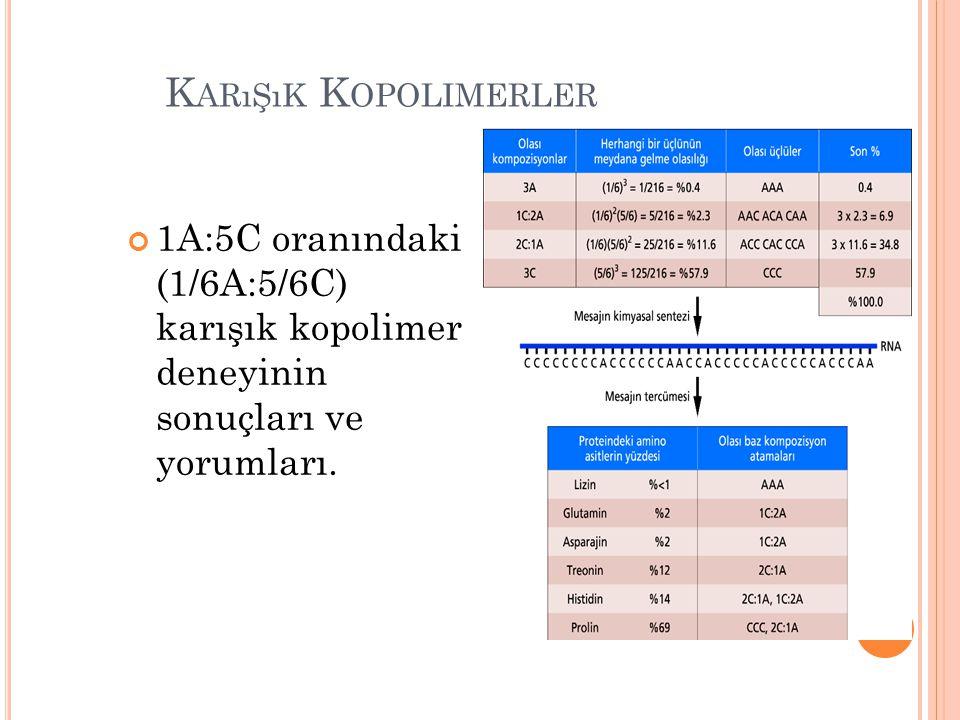 K ARıŞıK K OPOLIMERLER 1A:5C oranındaki (1/6A:5/6C) karışık kopolimer deneyinin sonuçları ve yorumları.