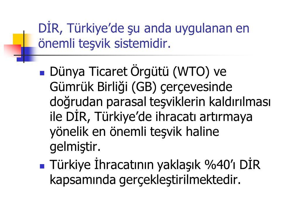 DİR, Türkiye'de şu anda uygulanan en önemli teşvik sistemidir. Dünya Ticaret Örgütü (WTO) ve Gümrük Birliği (GB) çerçevesinde doğrudan parasal teşvikl
