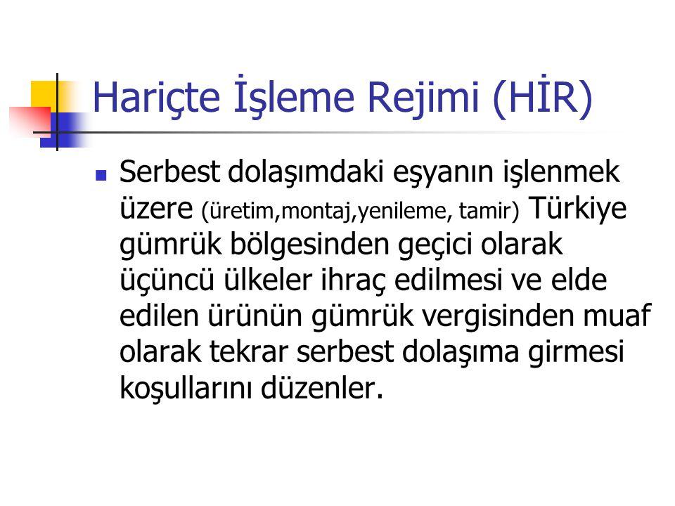 Hariçte İşleme Rejimi (HİR) Serbest dolaşımdaki eşyanın işlenmek üzere (üretim,montaj,yenileme, tamir) Türkiye gümrük bölgesinden geçici olarak üçüncü ülkeler ihraç edilmesi ve elde edilen ürünün gümrük vergisinden muaf olarak tekrar serbest dolaşıma girmesi koşullarını düzenler.