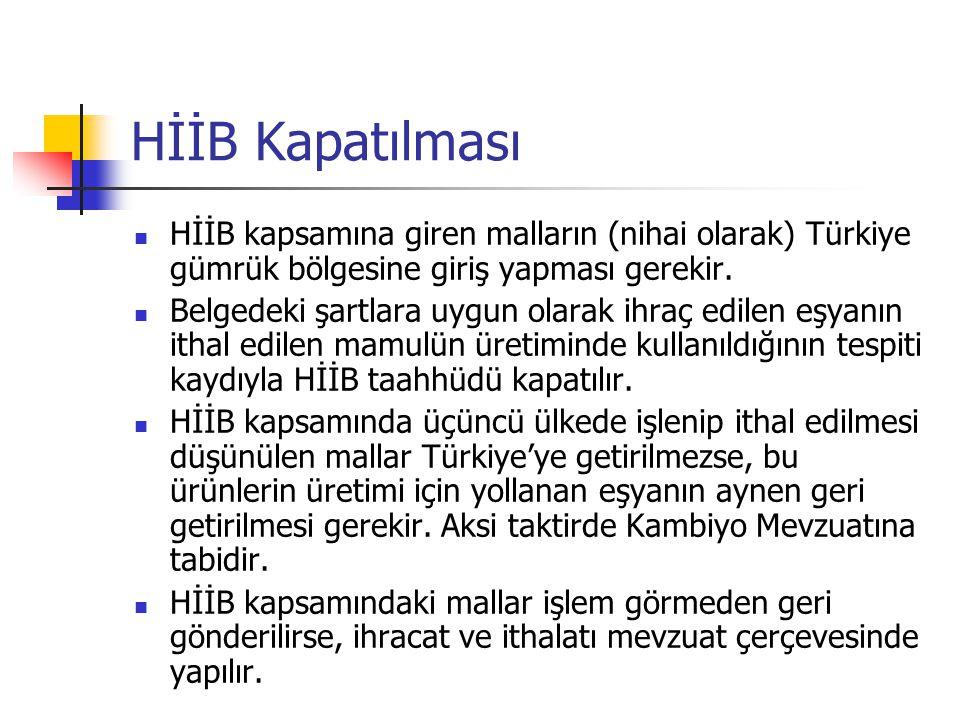 HİİB kapsamına giren malların (nihai olarak) Türkiye gümrük bölgesine giriş yapması gerekir. Belgedeki şartlara uygun olarak ihraç edilen eşyanın itha