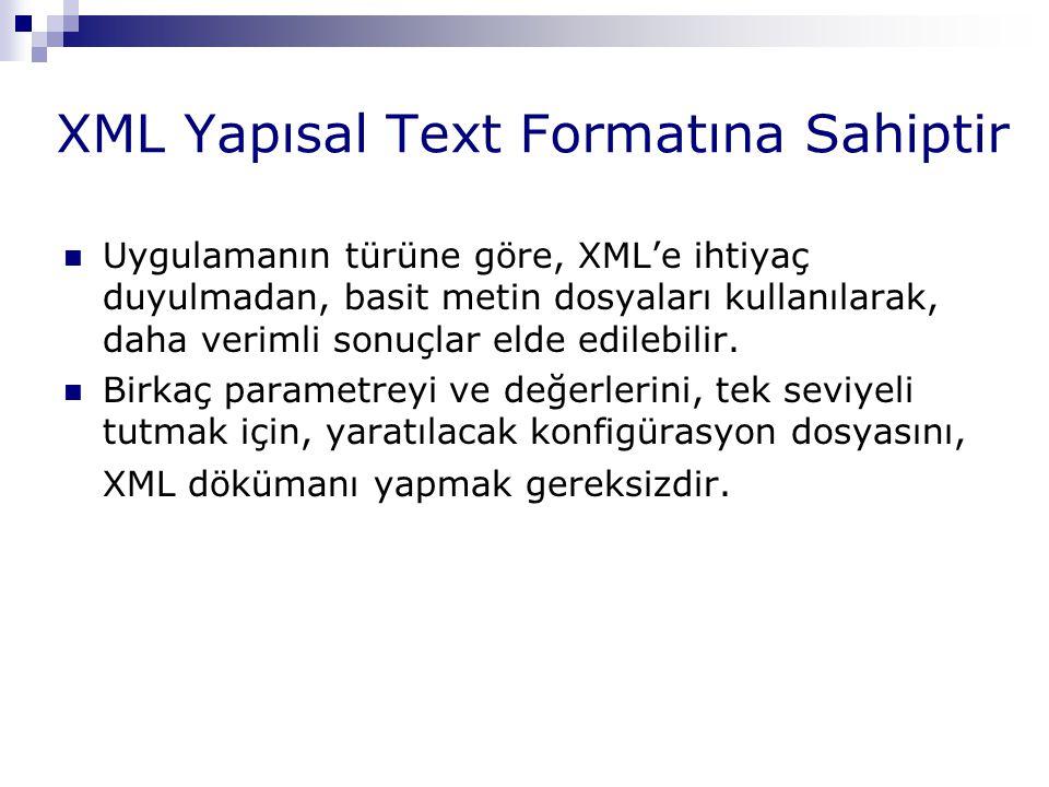 XML Yapısal Text Formatına Sahiptir Uygulamanın türüne göre, XML'e ihtiyaç duyulmadan, basit metin dosyaları kullanılarak, daha verimli sonuçlar elde
