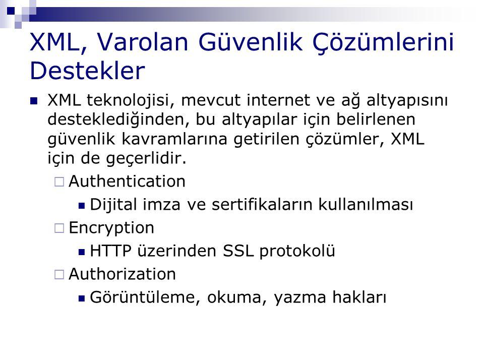 XML, Varolan Güvenlik Çözümlerini Destekler XML teknolojisi, mevcut internet ve ağ altyapısını desteklediğinden, bu altyapılar için belirlenen güvenli