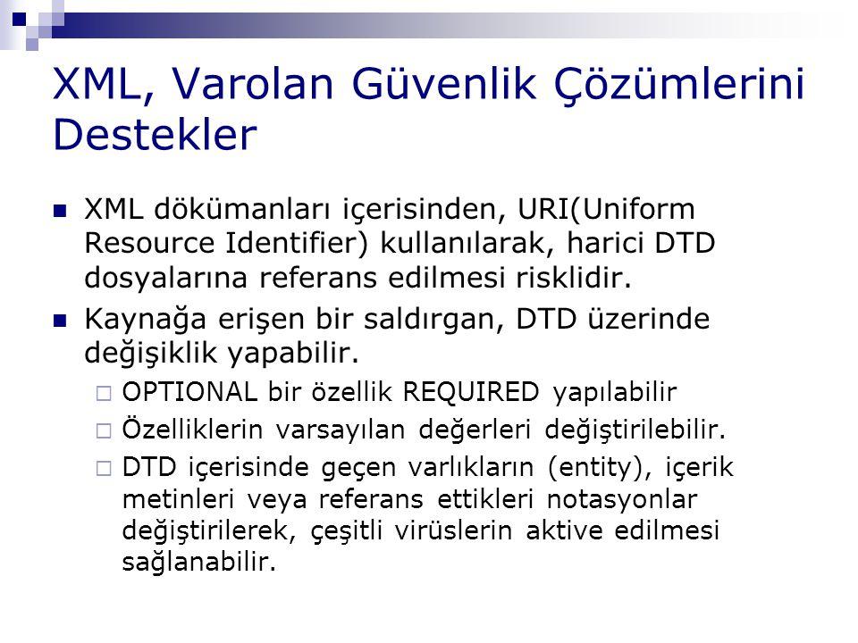 XML, Varolan Güvenlik Çözümlerini Destekler XML dökümanları içerisinden, URI(Uniform Resource Identifier) kullanılarak, harici DTD dosyalarına referan
