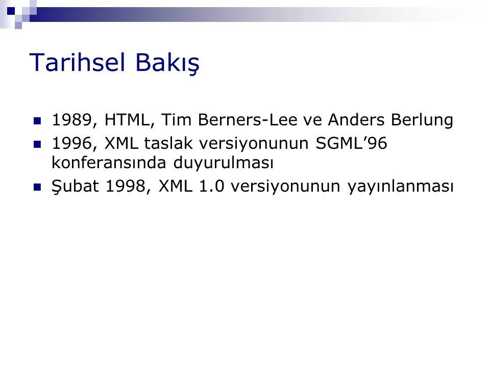 Tarihsel Bakış 1989, HTML, Tim Berners-Lee ve Anders Berlung 1996, XML taslak versiyonunun SGML'96 konferansında duyurulması Şubat 1998, XML 1.0 versi