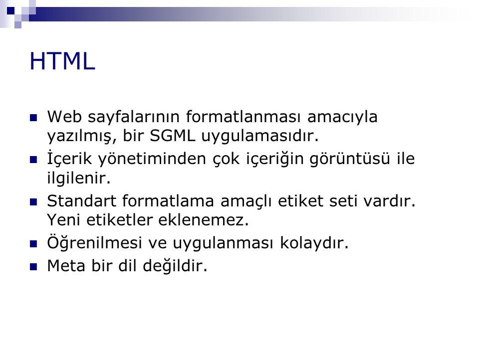 XML SGML'in güç ve esnekliğini içeren basitleştirilmiş, genişletilebilir bir işaretleme dilidir.
