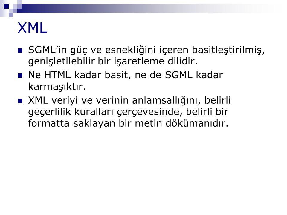 XML SGML'in güç ve esnekliğini içeren basitleştirilmiş, genişletilebilir bir işaretleme dilidir. Ne HTML kadar basit, ne de SGML kadar karmaşıktır. XM