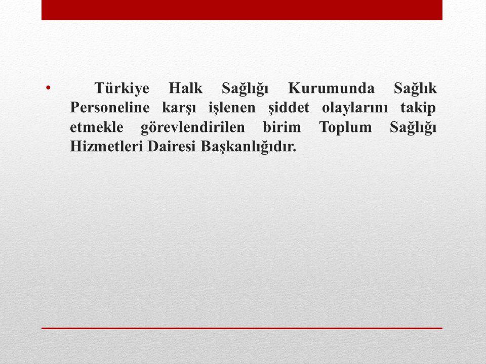 Türkiye Halk Sağlığı Kurumunda Sağlık Personeline karşı işlenen şiddet olaylarını takip etmekle görevlendirilen birim Toplum Sağlığı Hizmetleri Daires