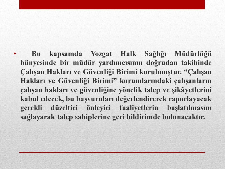 """Bu kapsamda Yozgat Halk Sağlığı Müdürlüğü bünyesinde bir müdür yardımcısının doğrudan takibinde Çalışan Hakları ve Güvenliği Birimi kurulmuştur. """"Çalı"""