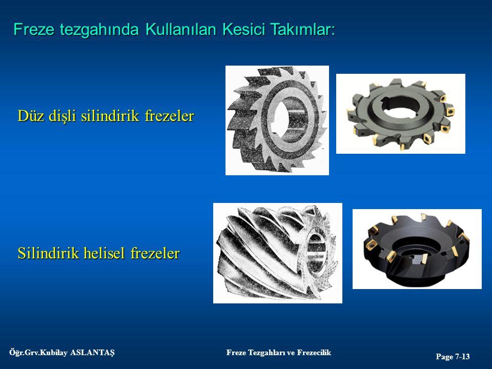 Page 7-13 Öğr.Grv.Kubilay ASLANTAŞFreze Tezgahları ve Frezecilik Freze tezgahında Kullanılan Kesici Takımlar: Düz dişli silindirik frezeler Silindirik