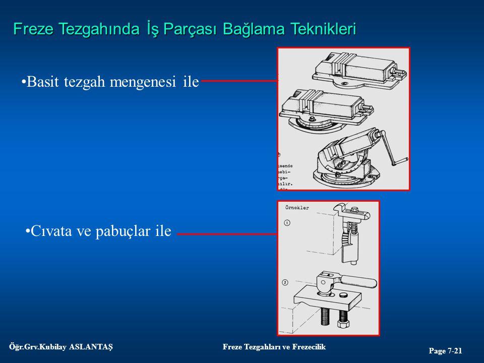 Page 7-21 Öğr.Grv.Kubilay ASLANTAŞFreze Tezgahları ve Frezecilik Freze Tezgahında İş Parçası Bağlama Teknikleri Basit tezgah mengenesi ile Cıvata ve p