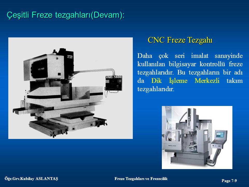 Page 7-9 Öğr.Grv.Kubilay ASLANTAŞFreze Tezgahları ve Frezecilik Çeşitli Freze tezgahları(Devam): CNC Freze Tezgahı Daha çok seri imalat sanayinde kull