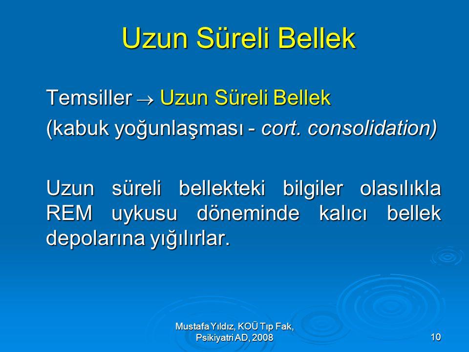 Mustafa Yıldız, KOÜ Tıp Fak, Psikiyatri AD, 200810 Uzun Süreli Bellek Temsiller  Uzun Süreli Bellek (kabuk yoğunlaşması - cort. consolidation) Uzun s