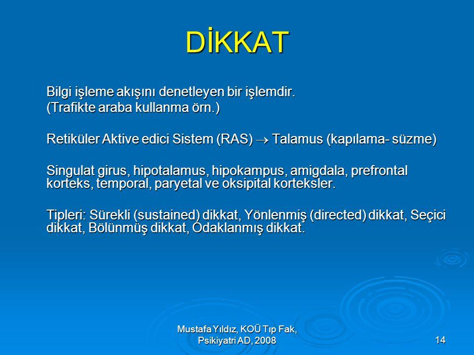 Mustafa Yıldız, KOÜ Tıp Fak, Psikiyatri AD, 200814 DİKKAT Bilgi işleme akışını denetleyen bir işlemdir. (Trafikte araba kullanma örn.) Retiküler Aktiv