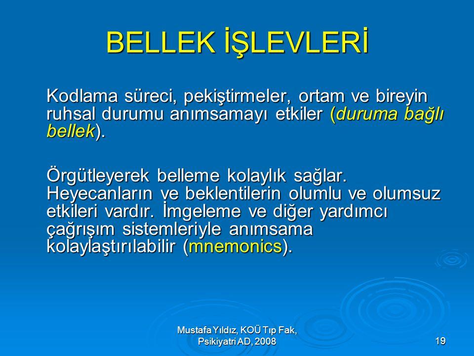 Mustafa Yıldız, KOÜ Tıp Fak, Psikiyatri AD, 200819 BELLEK İŞLEVLERİ Kodlama süreci, pekiştirmeler, ortam ve bireyin ruhsal durumu anımsamayı etkiler (