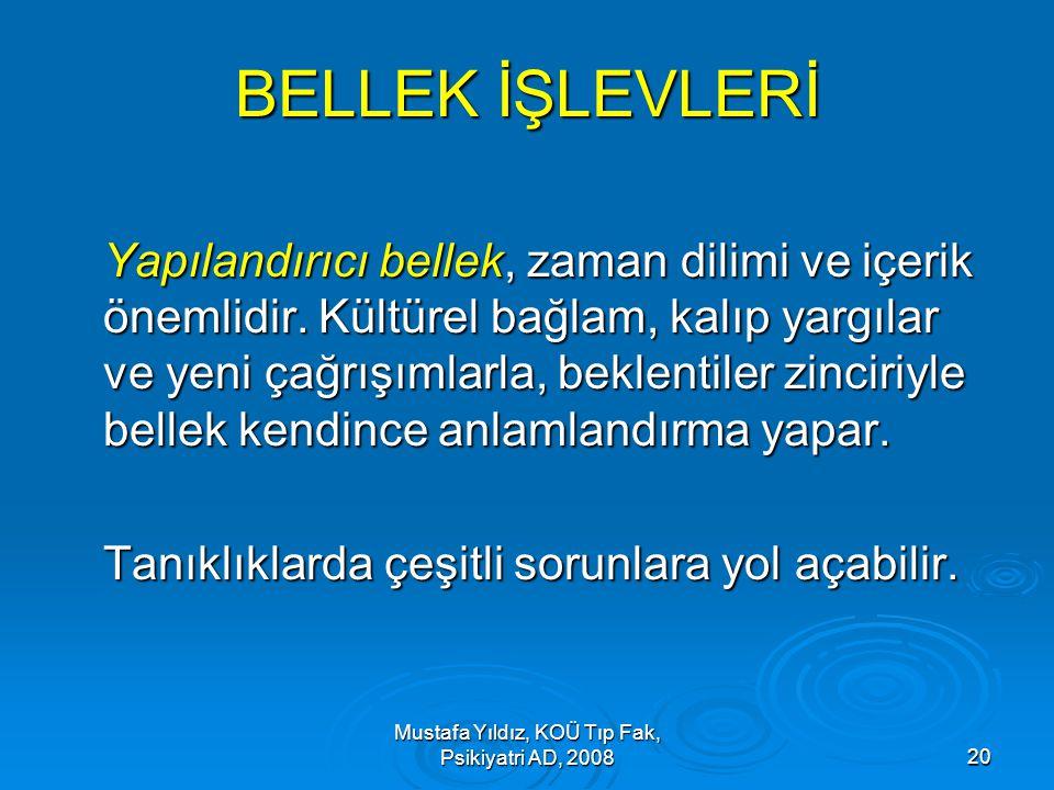 Mustafa Yıldız, KOÜ Tıp Fak, Psikiyatri AD, 200820 BELLEK İŞLEVLERİ Yapılandırıcı bellek, zaman dilimi ve içerik önemlidir. Kültürel bağlam, kalıp yar