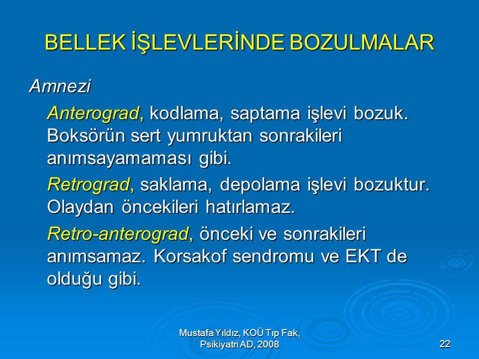 Mustafa Yıldız, KOÜ Tıp Fak, Psikiyatri AD, 200822 BELLEK İŞLEVLERİNDE BOZULMALAR Amnezi Anterograd, kodlama, saptama işlevi bozuk. Boksörün sert yumr