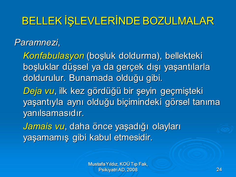 Mustafa Yıldız, KOÜ Tıp Fak, Psikiyatri AD, 200824 BELLEK İŞLEVLERİNDE BOZULMALAR Paramnezi, Konfabulasyon (boşluk doldurma), bellekteki boşluklar düş