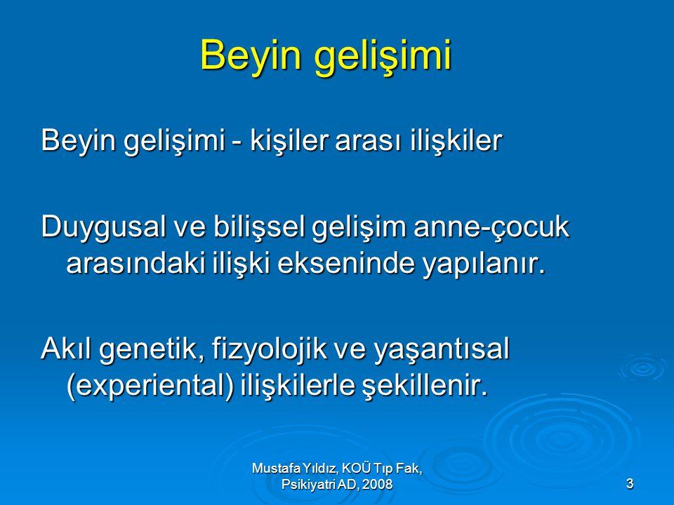 Mustafa Yıldız, KOÜ Tıp Fak, Psikiyatri AD, 20083 Beyin gelişimi Beyin gelişimi - kişiler arası ilişkiler Duygusal ve bilişsel gelişim anne-çocuk aras